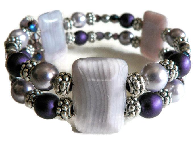 Purple Preciosa Swarovski Pearl Lavender Bead Comfort Wire Wrap Cuff Bracelet