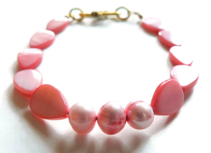 Pink Mother of Pearl and Freshwater Pearl Bracelet