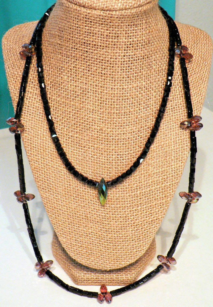 Black Beads and Shimmering Briolettes Two Strand Necklace