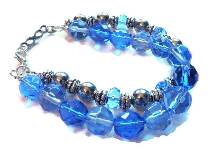 Midnight Blue Sky Blue Silver Beaded Two Strand Bracelet