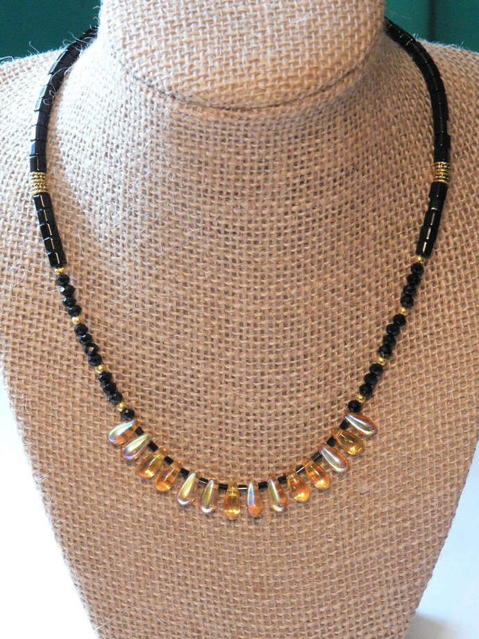 Elegant Black and Gold Beaded Necklace