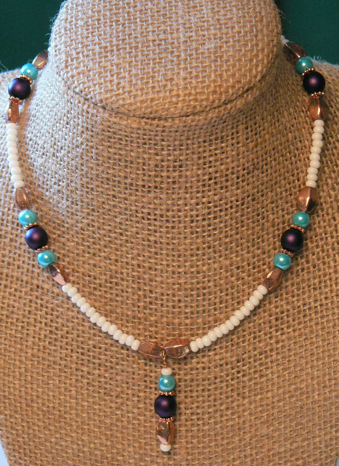 Turquoise Purple Copper Beaded Boho Choker Necklace