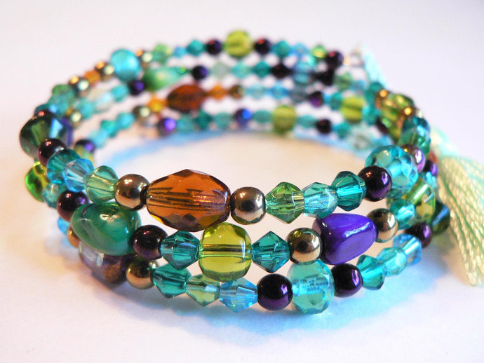 Purple Turquoise Green Amber Beaded Memory Wire Wrap Bracelet