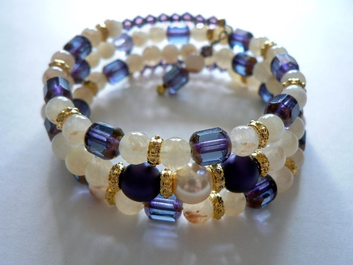 Purple Czech Glass and Calcite Beaded Memory Wire Bracelet