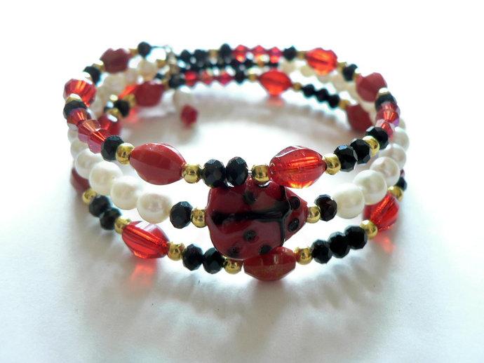 Ladybug Black White Red Beaded Memory Wire Bracelet