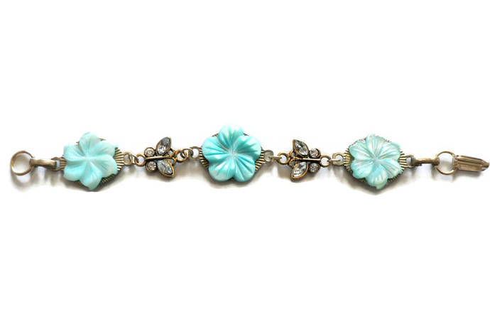 Aqua Turquoise Mother of Pearl Flowers and Butterflies Bracelet