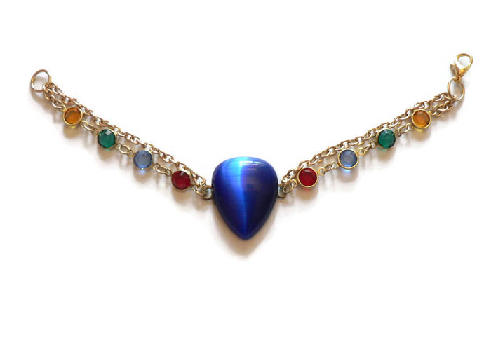 Blue Glass Heart Cabochon Bracelet