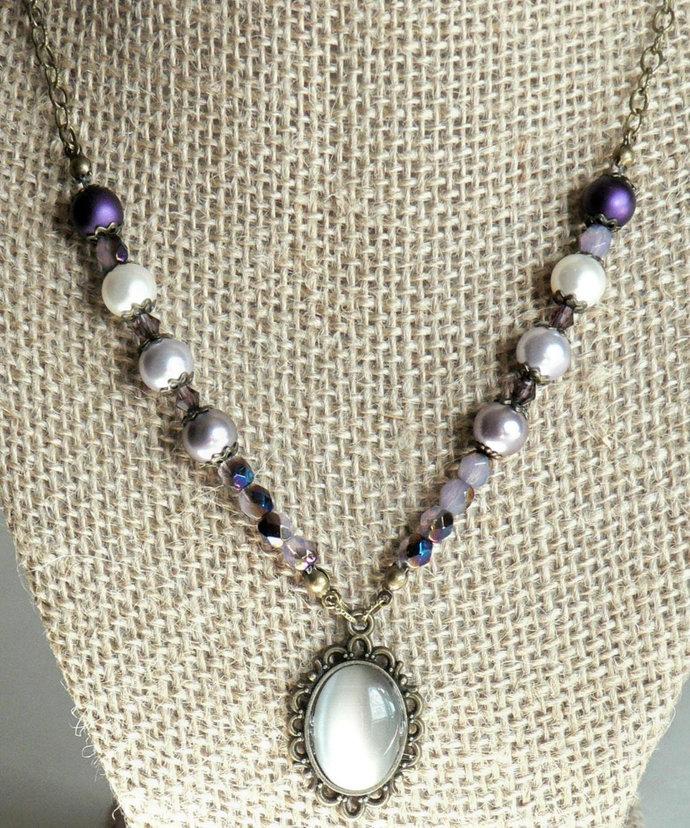 Purple Preciosa and Swarovski Pearl Necklace