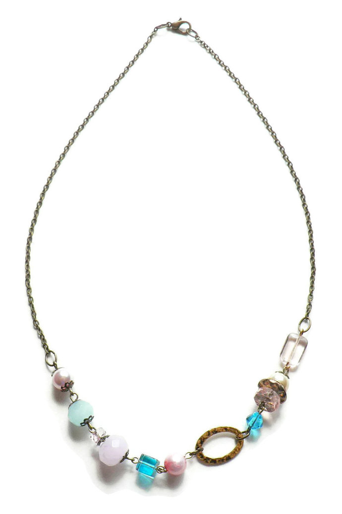 Pink and Blue Glass Bead Necklace Boho Style Asymmetrical