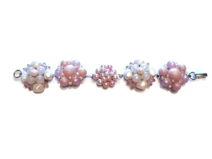 Vintage Faux Pearl Earring Bracelet Pink