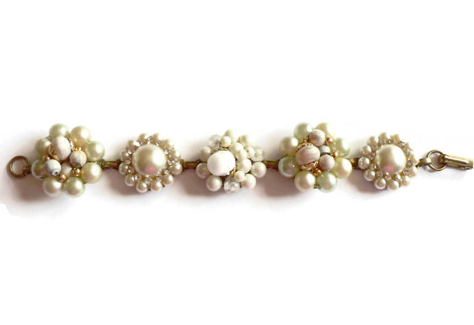 Vintage Beaded Faux Pearl and Rhinestone Earring Bracelet