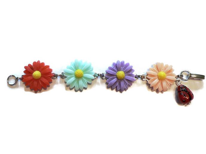 Little Girl Flower and Ladybug Bracelet
