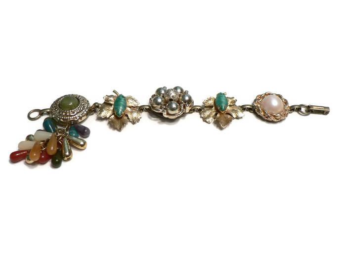 Green Gold Boho Vintage Earring Bracelet