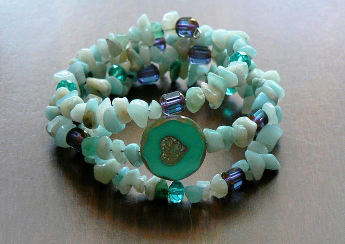 Amazonite Turquoise and Czech Glass Bead Memory Wire Wrap Bracelet