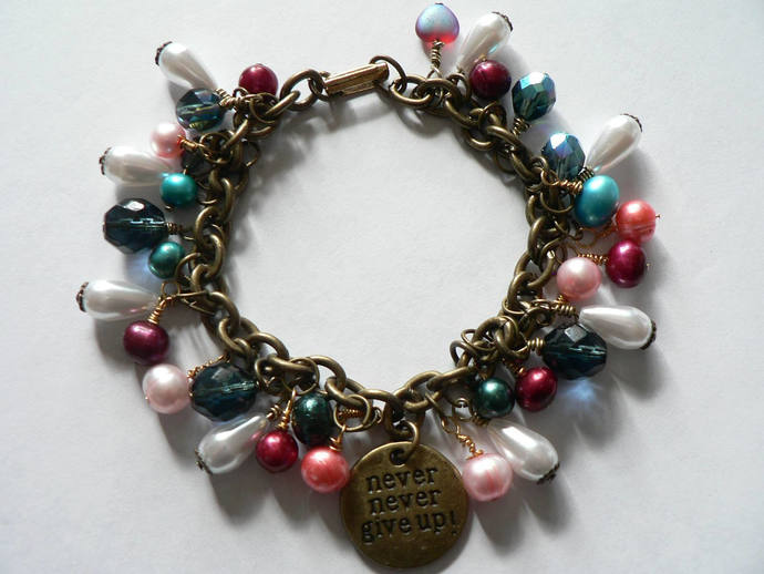 Freshwater Pearl and Czech Glass Bead Never Never Give Up Bracelet