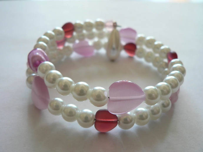 Glass Hearts and Pearls Memory Wire Wrap Bracelet