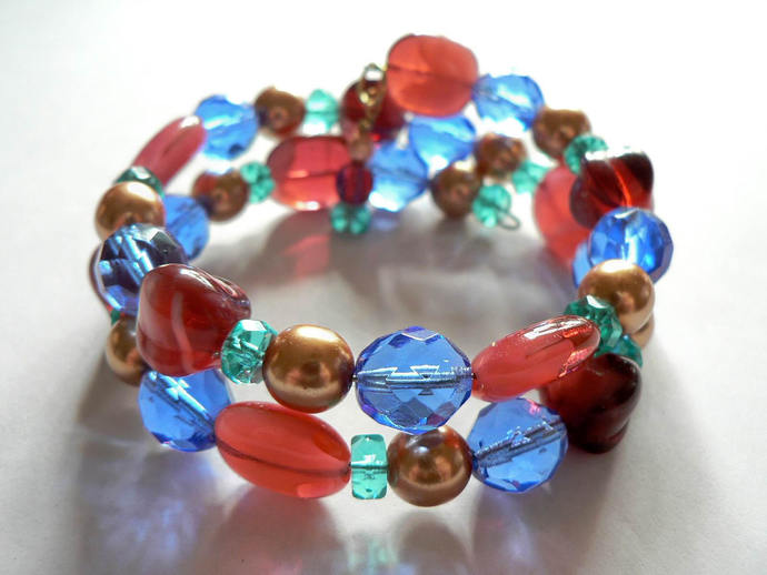 Blue Red Gold Turquoise Czech Glass Bead Memory Wire Wrap Bracelet
