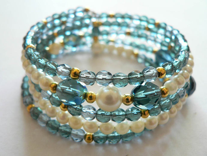 Czech Blue Glass Beads and Pearl Memory Wire by DesertBelles on Zibbet