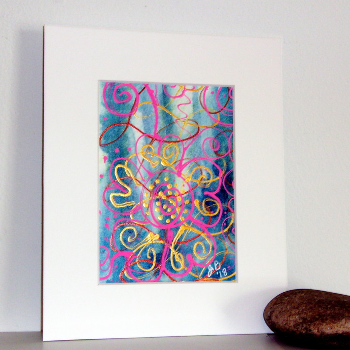Dot & Spiral Splash Study in Blue and Pink, original painting, 5x7 matted to