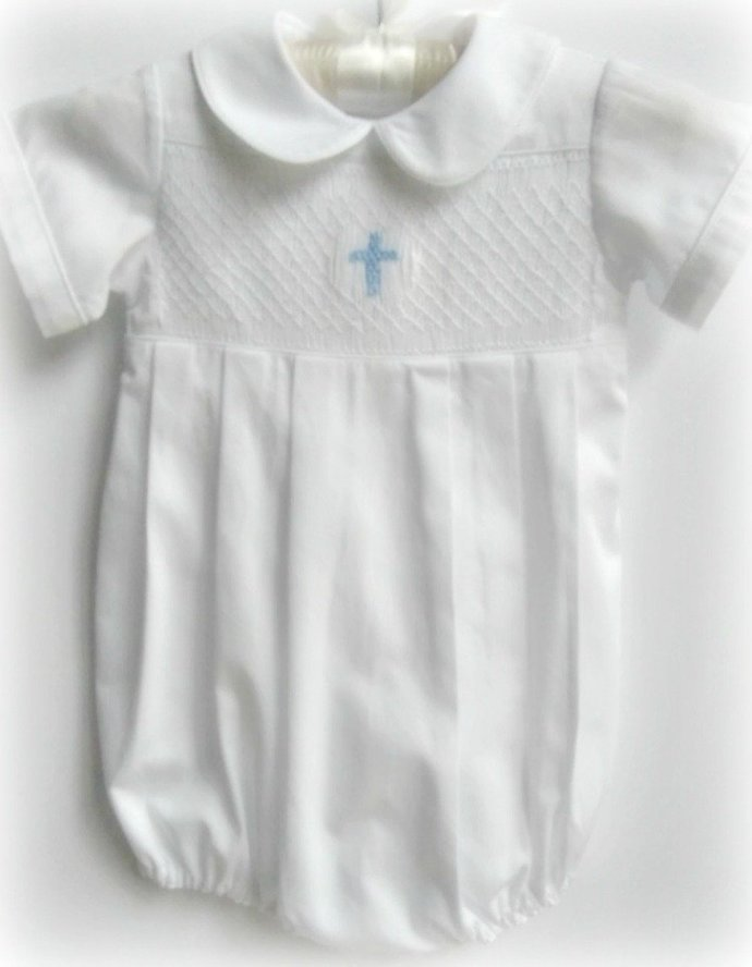 Baby Boy Baptism Bubble with Cross Smocking