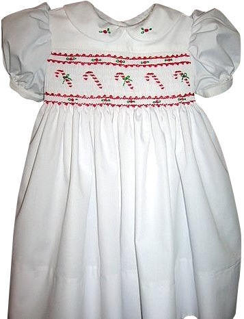 Smocked Christmas  Dress with Candy Canes Sizes 6 months to 5yrs