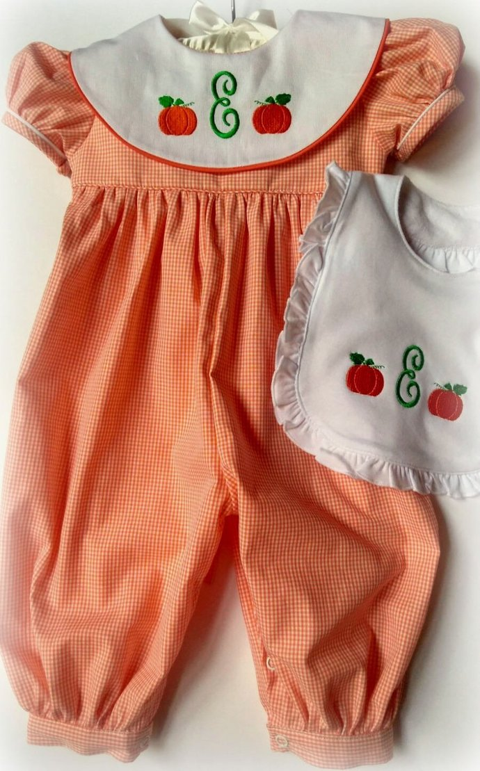 Girls Pumpkin Romper -Girls Pumpkin Romper -Girl Pumpkin Outfit with Monogrammed