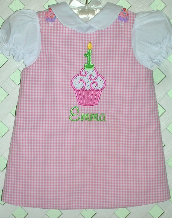 Girl Birthday Cupcake Jumper Dress - Free Personalization