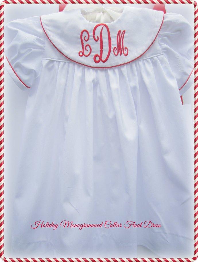 Christmas Dress Monogrammed Collar Float Dress