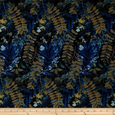 Yardage Cotton Quilt Fabric Fernwood Leaves Midnight Blue Batik Look