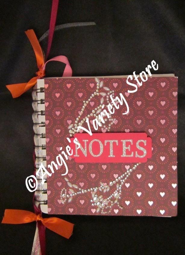 Pink Hearts Spiral Bound Altered Notebook
