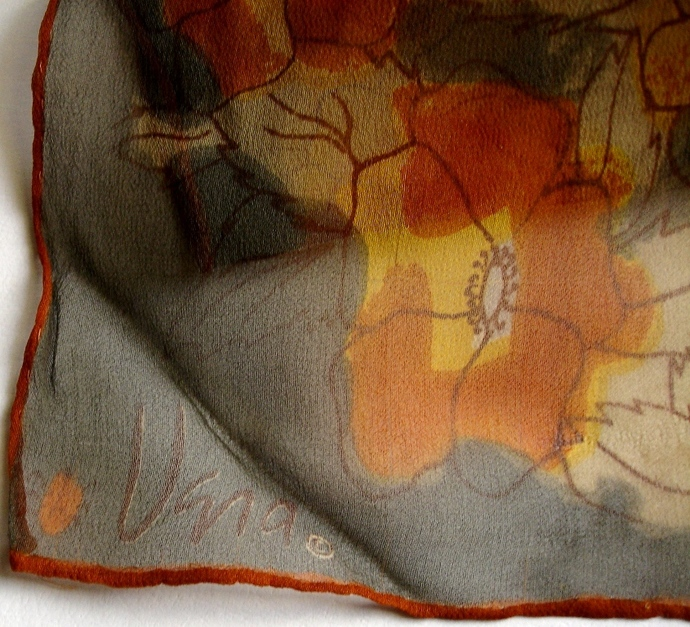 Vera Neumann Gray Rust Gold And Brown Stylized Panies Ladybug Scarf