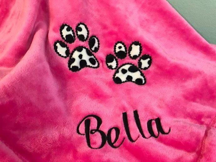 Paw Print Appliqued Dog Blanket