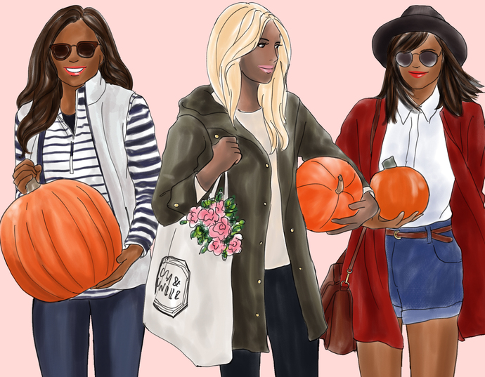 Watercolour fashion illustration clipart - Girls with Pumpkins - Dark Skin