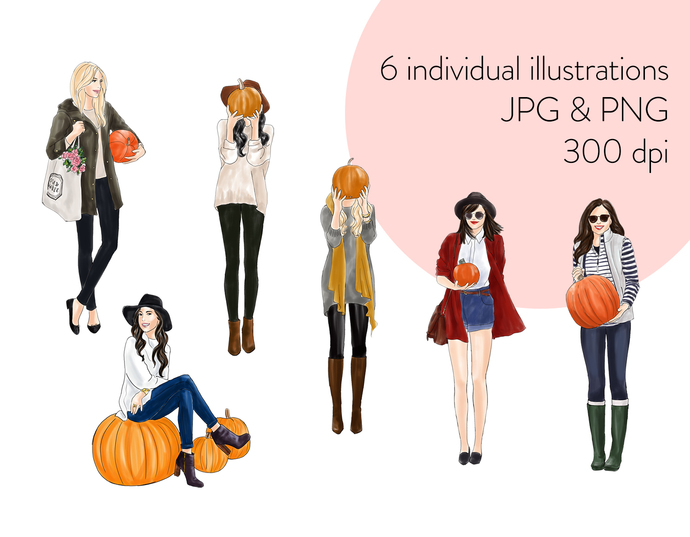 Watercolour fashion illustration clipart - Girls with Pumpkins - Light Skin