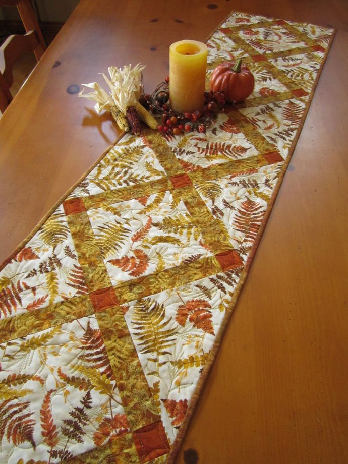 Table Runner Fall Quilted Handmade Runner Leaves Handmade Gifts Fall Decor Home