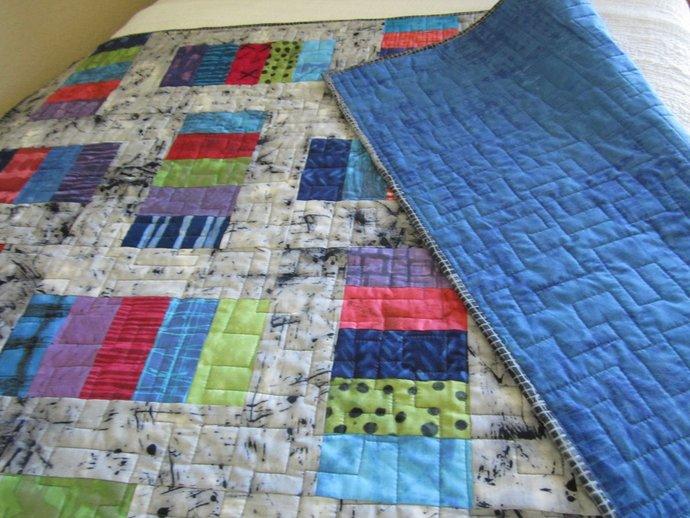 Quilts Homemade Quilts Handmade Patchwork Quilt Geometric  Modern Quilt  Lap