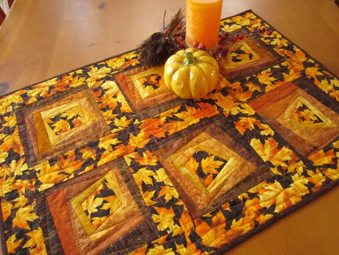 Table Topper Fall Leaves Autumn Tabletop Quilted Handmade Wall Quilt Square