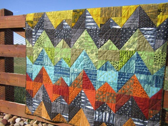 Quilts Handmade Modern Patchwork Quilt Geometric Quilt  Modern Lap Quilt  Throw