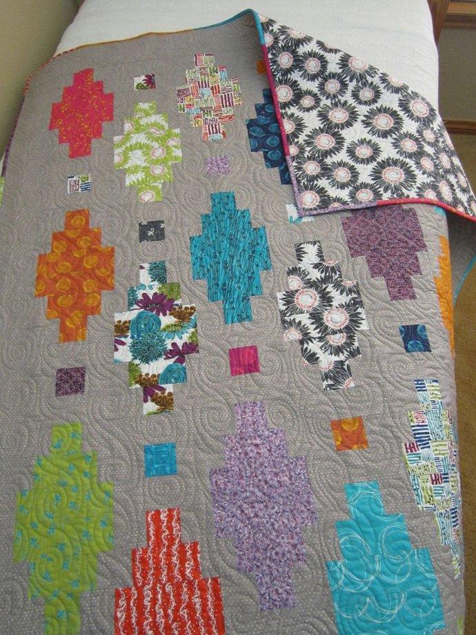 Handmade Contemporary Quilt Modern Quilt Geometric Gift for Her Homemade Lap
