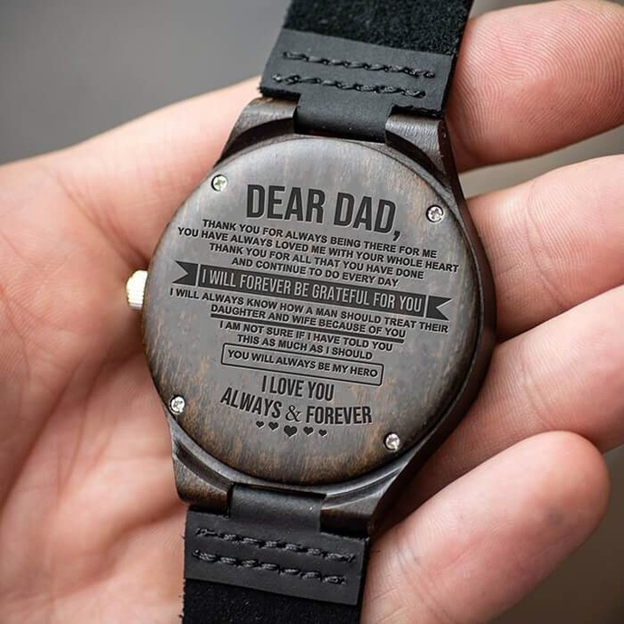 Men Watch - Great Gift For Your Dad Engraving Wooden Watch