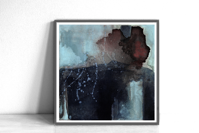 Brown and blue abstract, black wall art ,Minimal Wall Art,Printable Art,