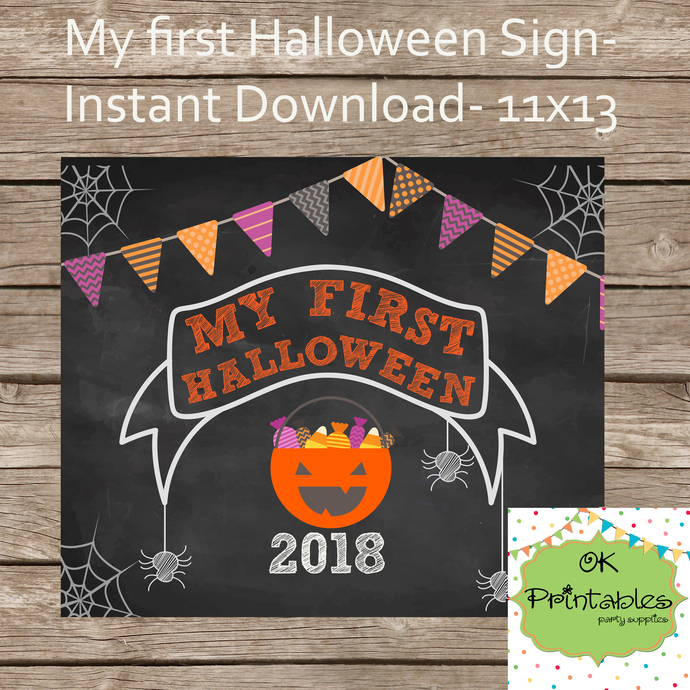 My first Halloween 2018 Chalkboard sign 02- Halloween sign- Instant Download-