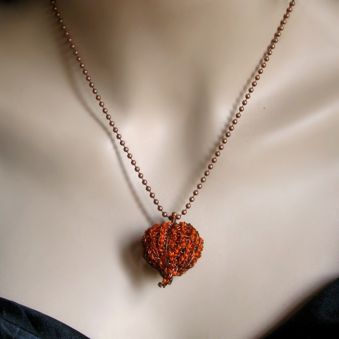 Wire knit Physalis pendant