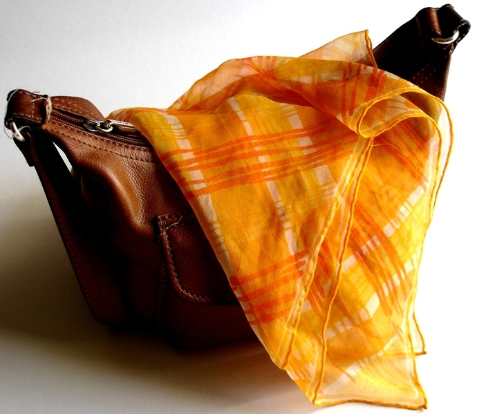 Vera Neumann Verasheer Geometric Orange Yellow And White Stripe Scarf