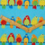 Blue Bird Craft Fabric - half meter - 59in width - 100% Cotton -turquoise yellow