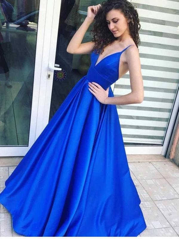 2019 Royal Blue Satin Prom Dress, long prom dress, evening dress,Ball Gown,prom