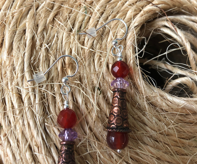 Copper Cone Earrings and Reddish Brown Carnelian and Agate