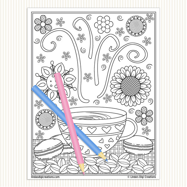 Coffee Break Printable Adult Coloring Pages