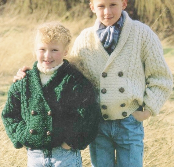 Instant PDF Download Vintage Row by Row Knitting Pattern to make A Boy's Aran