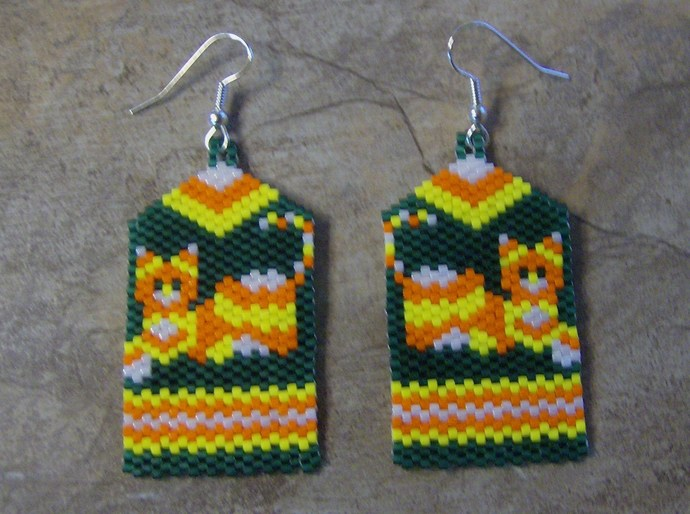 Candy Corn Calico Cat Earrings Hand Made Seed Beaded Bead Work